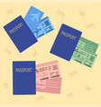 airplane bus train tickets with passport vector image