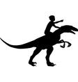 Boy riding raptor vector image