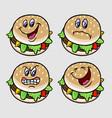 Burger cartoon character expression vector image