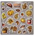 set of autumn season cartoon stickers vector image
