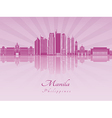 Manila skyline in purple radiant orchid vector image