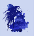 Woman head on the blue watercolor background vector image