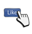 Mouse hand cursor on like button vector image