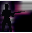 girl with gun silhouette vector image vector image
