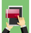 Businessman hands on mobile tablet with web dialog vector image