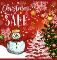christmas sale banner of winter holidays discount vector image