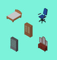 isometric furniture set of office drawer cabinet vector image