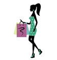 Silhouette of a fashionable shopping woman vector image