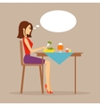 Slender girl eating salad vector image