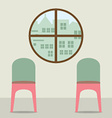 Two Chairs Under Round Window vector image