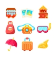 Travelling Related Objects Colorful Simple Icons vector image