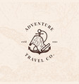 anchor logo with treasure map in vintage style vector image