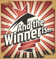 Winner retro tin sign design concept vector image vector image