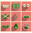 Concept of flat icons with long shadow Brazilian vector image