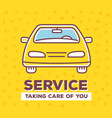 creative of frontal view car with vector image