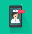doctor online on cellphone vector image