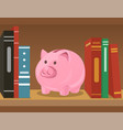piggy bank on bookshelf vector image