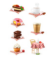 Street cafe chocolate cupcake cake cup of coffee vector image