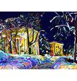 winter night cityscape digital painting vector image