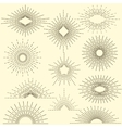 Set of vintage sunbursts in different shapes vector image vector image