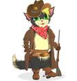 Cat cowboy Sheriff Wild West vector image