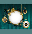 round mechanical banner on green background vector image
