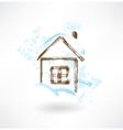 Winter house grunge icon vector image