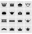 black crown icon set vector image vector image