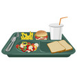 A school lunch tray with copy space vector image