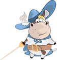 Cute Cow King Musketeer Cartoon vector image
