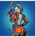 Girl space marine science fiction retro vector image