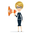 Megaphone woman Stock vector image