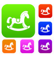 toy horse set color collection vector image