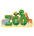 word design for zoo with wild animals vector image