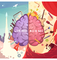 Brain Right Left Sides Cartoon Poster vector image