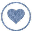 valentine heart rounded fabric textured icon vector image