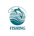 fishing emblem with waves vector image vector image