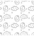 Seamless pattern with cartoon sleeping moon cloud vector image