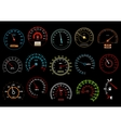 Car speedometers on black background vector image vector image