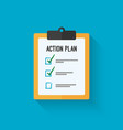 Action plan clipboard icon design over a blue vector image