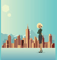 a woman is talking about business in the city vector image
