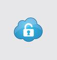Blue cloud unlock icon vector image