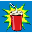 Cola beaker tube fast food drink vector image