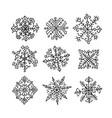 hand drawn snowflakes ethnic design vector image