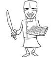 Japan sushi chef cartoon coloring page vector image