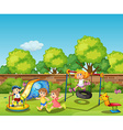 Kids playing in the playground at daytime vector image