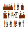 law court people flat icon set vector image