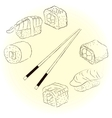Sketchy sushi set vector image