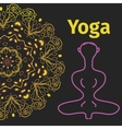 yoga banner pose with mandala background vector image