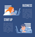 Business start up banner with businesspeople vector image